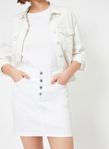 Koton Düğme Detaylı Etek Beyaz